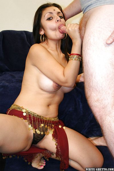 Busty indian babe gives a blowjob and gets will not hear of cunt slammed hardcore