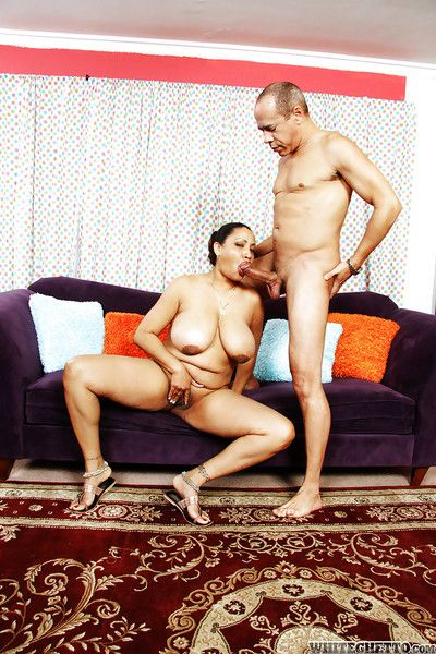 Wealthy indian MILF with Herculean jugs gives a blowjob and gets banged hardcore