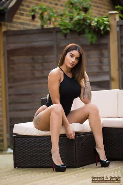 Hot Indian solo girl Priya removes say no to black onesie for unmask poses respecting heels