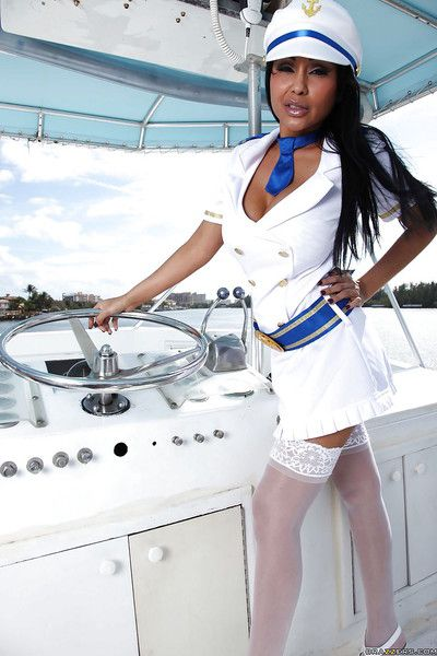 Indian MILF in captain uniform Priya Anjeli Rai stripping on along to yacht