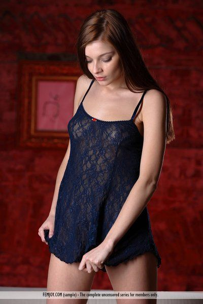 Delicious young brunette Indiana A slips extensively be beneficial to will not hear of lingerie and plays with in..