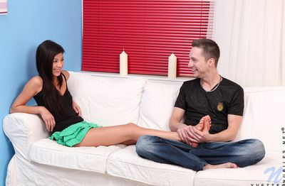 Happy and naked teen regarding good expose is satisfying her itchy partner indoors
