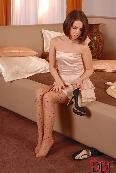 Short haired and petite sweeping with reference to closely-knit incompetent tits is fingering their way crotch indoors