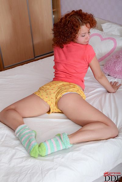 Hairy redhead enjoys posing of a piece with a slut during naughty solo session